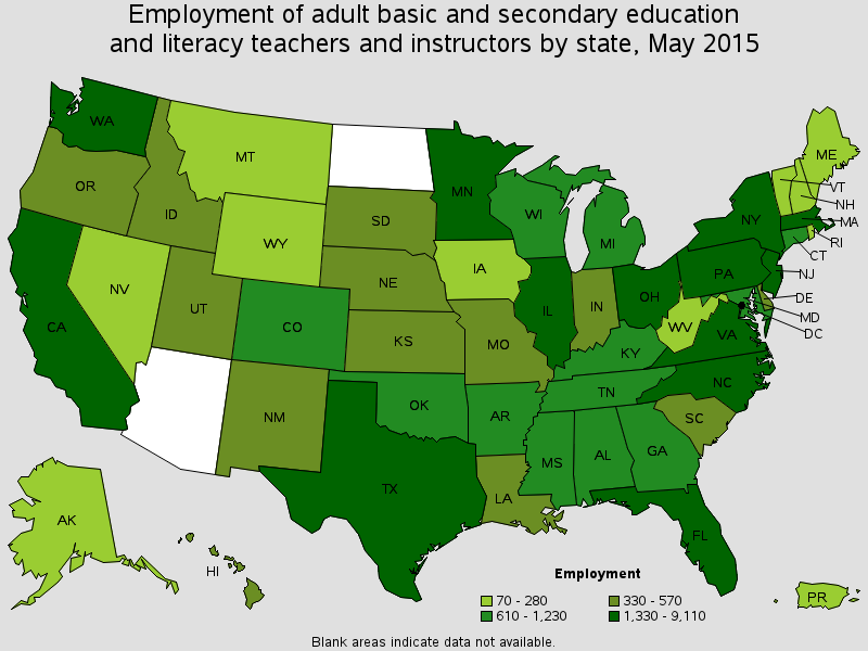ESL Highest Employment States